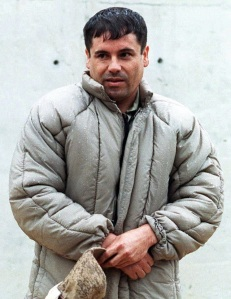 "(FILE) This July 10, 1993 file photo shows Mexican Joaquin Guzman Loera, aka El Chapo, at La Palma prison in Almoloya of Juarez, Mexico. The United States on February 23, 2011 levied sanctions on more than 70 individuals and entities in six countries linked to Mexico's notorious Sinaloa cocaine cartel. The Treasury Department targeted a supply group -- headed by Colombia's Jorge Cifuentes Villa -- on allegations of drug trafficking and money laundering activities spanning Colombia, Mexico, Ecuador, Panama, Spain and the United States. The group was chiefly accused of supplying cocaine for the Sinaloa gang, which controls many of the drug routes from Mexico's Pacific coast into the United States -- the world's largest market for cocaine. The Mexican cartel is led by the elusive Joaquin ""El Chapo"" (""Shorty"") Guzman, who made the Forbes list of the world's billionaires in 2010 for his allegedly illicitly earned fortune. AFP PHOTO/STR"